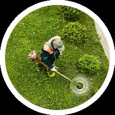 Gärtner pflegt den Rasen